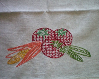 Vintage Martex Towel with hand embroidered vegetables
