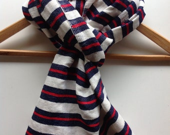 Dark blue and red striped wool scarf and wraps - Mens Navy and red wool cotton mix winter stole - woven red blue Wool stole wrap Accessories