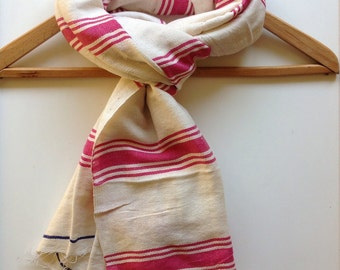 Scarves scarfs-Pink white blue cotton scarf- striped Hand Woven pink white Ethiopian scarf  - stole wrap shawl- Gift for Her