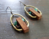 Turquoise + Wood Earrings