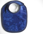 EcoBib--Adjustable Snap Closure--Modern Super Subtle Florals on Deep Blue--Ready to Ship