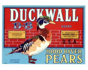 Duckwall Hood River Oregon Pear Crate Label