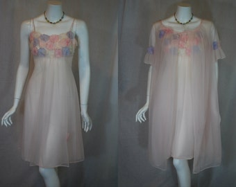 1960s Warners Pink  Peignoir Set, 32, Small, Nightgown, Robe