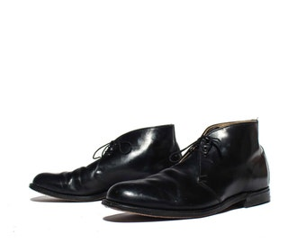 13 EE | Men's Black Leather Dress Boot 1950's 1960's B.F. Goodrich Heel Caps All Leather Dapper Shoe