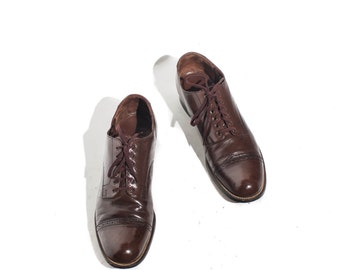 8.5 | Stacy Adams Cap Toed Oxfords Brown Leather Lace Up Dress Shoe