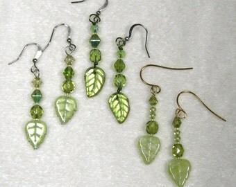 Beaded Leaves Earrings green olivine