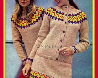 PDF Knitting pattern for a Ladies Beautiful Retro Fair Isle 3 Piece Set  - 1960's - Instant Download
