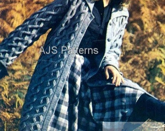 PDF Knitting Pattern for a Ladies Aran Long Length Cabled Coat - Instant Download