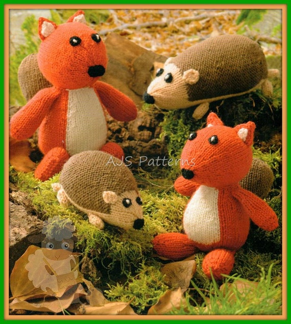 PDF Knitting Pattern Squirrels and Hedgehogs Toys Instant