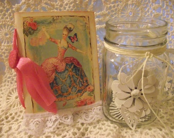 One Marie Antoinette Journal /Scrapbook Party Book Handmade With Glitter And DIstress Edges