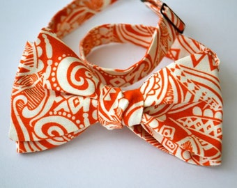 Self Tie Bowtie-  Rust Dark Orange Pailsey