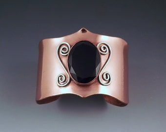 RESERVED for JOSH- CLEARANCE- Black Onyx- Faceted Gem- Copper Cuff Bracelet