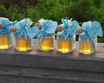 Honey Baby Shower Favors, Bridal Shower, Personalized Favors,  48 Hex Jars