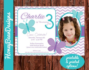 PRINTABLE Butterfly Birthday Invitation Girl Purple Photo Butterflies Flutter