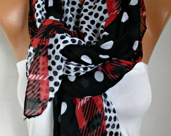 Black & White Polka Dot Scarf,Summer Shawl Oversize Scarf Cowl Scarf Gift Ideas for Her Women Fashion Accessories , Christmas in July