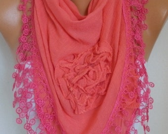 Amaranth Cotton Floral Scarf Spring Summer Scarf Cowl Lace Shawl Necklace Bridesmaid Gift Gift Ideas For Her Women Fashion Accessories