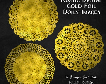 Gold Foil Wedding Invitation Clipart, Gold Fold Art, Instant Download, Rustic Doily Clip Art, Gold Foil Clipart