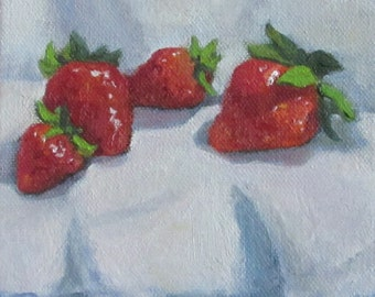 Sale Original Modern Impressionist Oil Painting Still Life Strawberries Painterly Realism Jennifer Boswell 6x6 Canvas