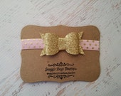 Chunky Pink and Gold Glitter Bow Headband -  Polka Dots - Newborn Baby to Adult - Hair Bows