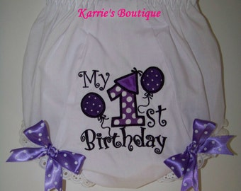 1st Birthday Diaper Cover / Purple & Black / Bloomers / Cake Smash / Photo Prop / Newborn / Infant / Baby / Girl/ Toddler/ Boutique Clothing