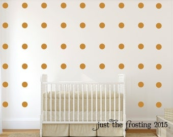 Polka Dot Wall Decals Set of 40 - Gold Polka Dots - Gold Decals