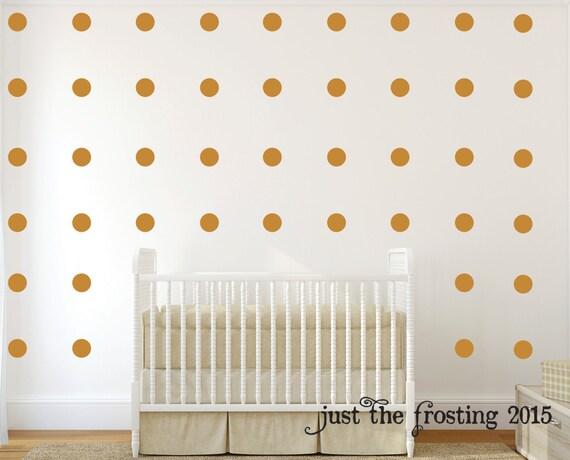 Polka Dot Wall Decals Set of 40 - Gold Polka Dots - Gold Decals