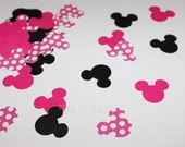 Minnie Mouse Party Confetti Pink Polka dot Black Hot Pink perfect for your Party Shower Embellishments Tags Decorations Cards 300 pieces