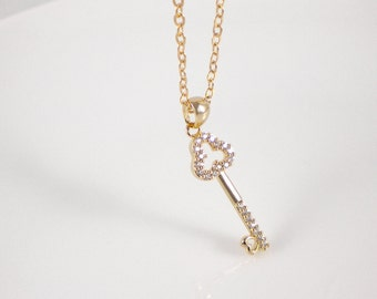 Dainty key necklace, available in gold or silver, Key to Your Heart, valentain's day gift