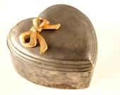 Vintage Heart Shaped Trinket Box with Gold Metal Bow (c.1950s) - Valentine Home Decor, Valentine Trinket Gift