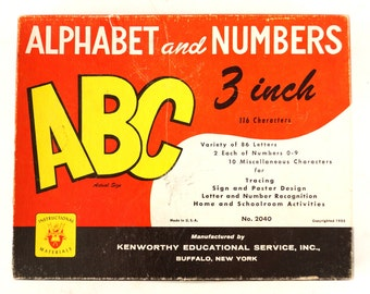 Vintage Kenworthy Alphabet and Numbers Set (c.1953) - Collectible, Home Decor, Altered Art