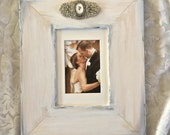 Large Wedding Frame White Bow Jewel Pearl Diamond Personalize Rustic
