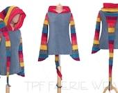 Rainbow Fleece Arabelle top(moda length). 24 stripe ultimate pixie hood / 12 stripe sidhe sleeves