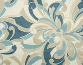 Vintage Wallpaper by the Yard 60s Retro Wallpaper - 1960s Blue and Tan Mod Floral