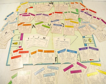 Vintage Parker Brothers Monopoly Games 3 Complete Sets of Property Title Cards - Colorful Collection of 84 Paper Game Cards for Repurposing
