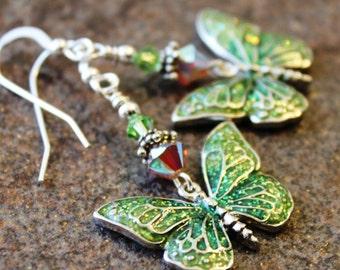 Green Butterfly Earrings - Swarovski and Sterling Silver - Butterfly Jewelry - Summer Earrings - Spring Earrings - Butterflies, Mothers Day