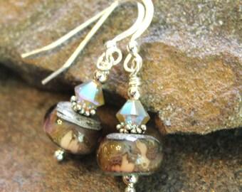 Art Glass Earrings - Ivory with Rose - Sterling Silver and Swarovski - Rose Earrings - Lampwork Earrings - Handcrafted - Artisan - Rose