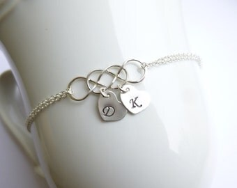 Intertwined Infinity Bracelet -- 925 Sterling Silver with Personalized Initials -- Sisters Friendship Mothers