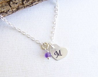 Sterling Silver Petite Birthstone Initial Necklace --  Perfect for Layering