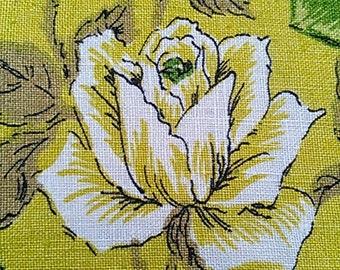 "Vintage Green Roses Tea Towel Cotton or Linen 15"" X 27"""