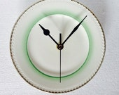 Kitchen Plate Clock  Art Deco Green and Gold   Vintage China  Tea Plate
