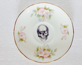 Black skull plate with pale pink flowers bone china saucer For Wall Display Plate Collage Fine Bone China  vintage china Made in England