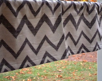 "Valance window treatment 50""x14"" Grey Off White Chevron Zig Zag Valance Kids Valance Kitchen Valance home decor Great gift"