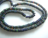 Ethiopian Black Opal Multi Colour smooth Rondelle  Beads  Size 3MM To 4MM MM Pck Of 10-Strands 14''  Wholesale Price