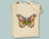 Colorful Vintage Moth Advertisement on Natural or Black Canvas Tote  - Selection of sizes available