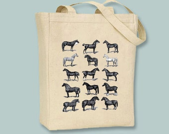 Vintage Horses illustration Natural or Black Canvas Tote -- Selection of Sizes available