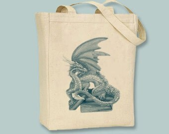 Dragon and Books canvas tote -  Selection of sizes - image colors available