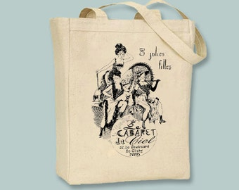 Fun Paris, France Cabaret Illustration Canvas Tote - Selection of sizes available and image color