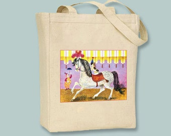 Circus Animals, Art Seiden Horse Illustration Natural or Black Canvas Tote - Selection of sizes available