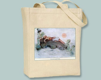 Peter Pan , A Mermaid Caught Wendy Vintage Illustration  Natural or Black Canvas Tote  - Selection of sizes and personalization available