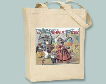 The Animals Picnic, Chidrens Vintage Book Cover, Natural or Black Canvas Tote - Selection of sizes available